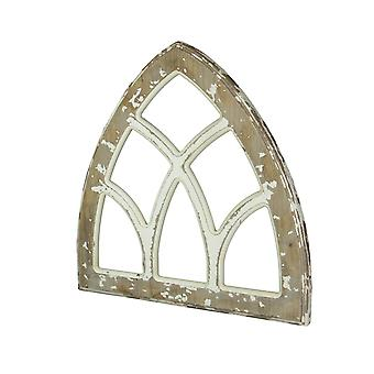 Madeira angustiada emoldurada catedral gótica arco parede pendurado