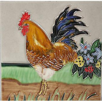 YH Arts Ceramic Wall Art, Rooster Design 4 6 x 6""