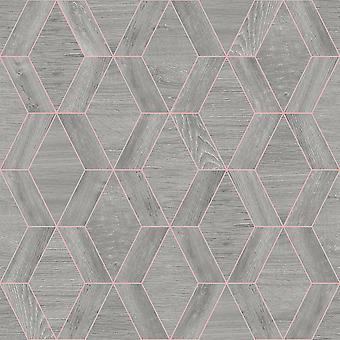 Geometric Grey Wood Effect Wallpaper Metallic Copper Modern Rasch