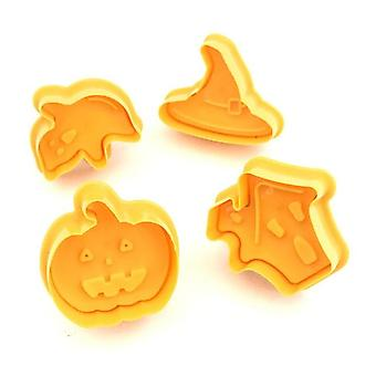 4 PC/SET Cookie Stamp Biscuit Mold Halloween Pumpkin Cookie Fondant - Cake Chocolate Mold - Kitchen DIY Baking Cutter Mould