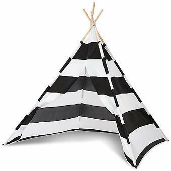 Indian Wooden Play Tent Kids Teepee Children Canvas Playhouse Indoor Outdoor