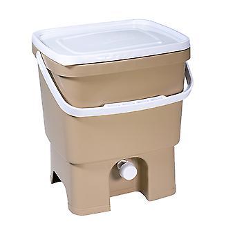 Skaza Bokashi Organko kierrätetty muovi keittiö komposti Container | 16 L| Aloitussetti keittiöjätteille ja kompostointiin | EM-sadetus 1 kg | Ruskea Beige