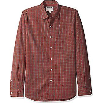 Goodthreads Men's Slim-Fit Long-Sleeve Poplin Small Scale Check Shirt, Rust