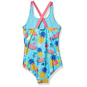 Spotted Zebra Girls' One-Piece Badpak, Aqua Pineapple, Small (6-7)