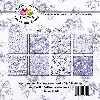 Dixi Craft 6x6 Inch Paper Pack Retro Flowers - Lavender