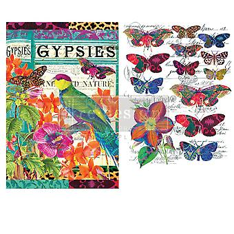 Re-Design com Prima Transfer Paper Boho Bird Butterfly