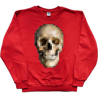 Pixelated Schädel rot Sweatshirt