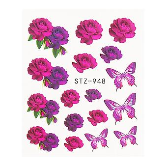 Black Floral Water Transfer Nail Stickers, Decals Flowers Leaves Decorations