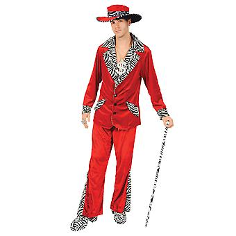 Orion kostuums mens 70s Red Velvet Pimp pak en gangster Hat nieuwigheid fancy dress