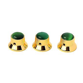 3PCS Green Gem Dome Knoppen Gold Metal Guitar Knobs Volume Tone Control Onderdelen