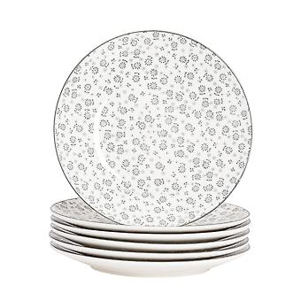 Nicola Spring 6 Piece Daisy Patterned Side Plate Set - Small Porcelain Dining Plates - Grey - 19cm