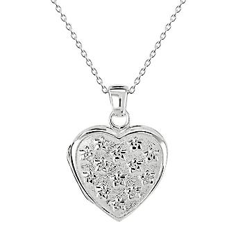 Dew Sterling Silver Forget Me Not Heart Locket Pendant 98987HP028