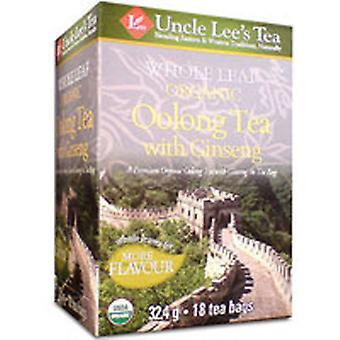 Uncle Lees Teas Organic Whole Leaf Ginseng Oolong Tea, 18 Bags