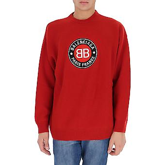 Balenciaga 641781t41116167 Men's Red Wool Sweater