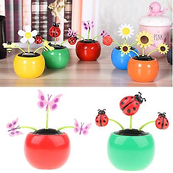 Solar Powered Flower Insekt Dancing Doll Legetøj Home Decor Butterfly Lady Bug
