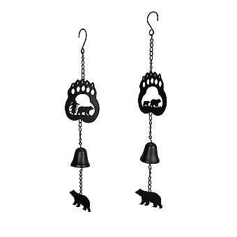 Set of 2 Rustic Lodge Style Black Bear Hanging Wind Chimes With Cast Iron Bells