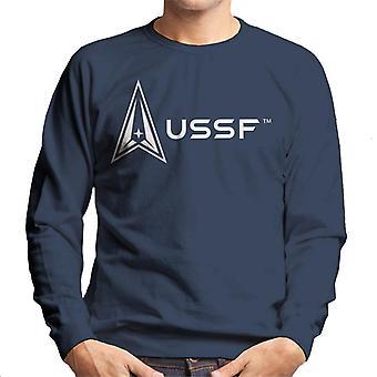 U.S. Space Force Light Logo Alongside USSF Text Men's Sweatshirt