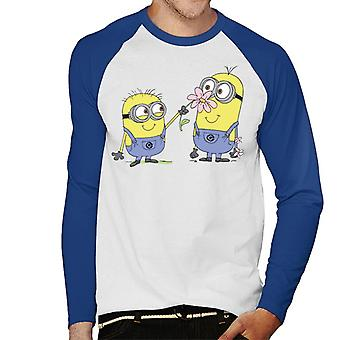 Despicable Me Minions Sniffing Flower Men's Baseball Long Sleeved T-Shirt