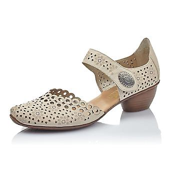 Rieker 43753-60 Chello Low Heel Ankle Strap Summer Shoes In Cream