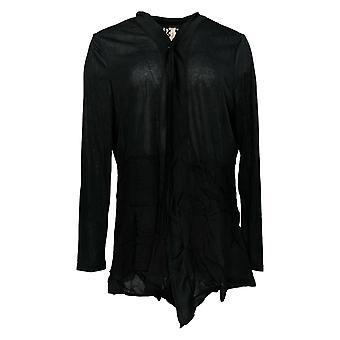 Rhonda Cisaillement Femmes's Pull Noir À manches longues Cardigan Polyester 685-143