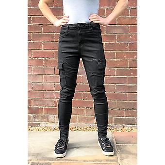 High Rise Skinny Stretch Cargo Pants Combat Trousers