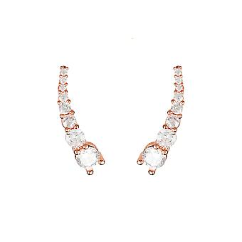Pair Ear Climbers Earrings White CZ Pink Rose Gold 925 Sterling Silver Fashion