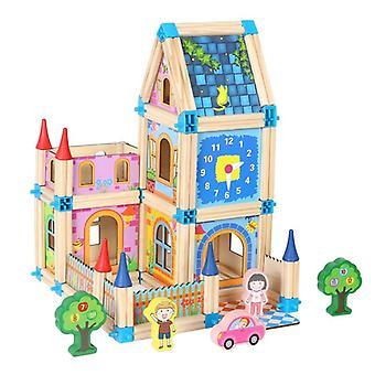 Master Αρχιτεκτονική Δομικά Στοιχεία Εκπαιδευτικά Ξύλινα Κιτ για το μωρό (128pcs)