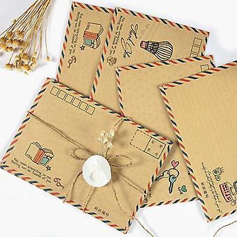 Envelope grande vintage, carta cartão postal papelaria papel airmail escola retrô