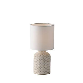 Fan Europe Ravello - Tischleuchte aus Keramik mit Stoffschirm, weiß, E14