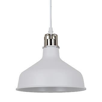 Italux Hooper - Pendente industriale e retrò appeso bianco, raso nichel 1 luce con tonalità bianca, E27
