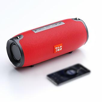 T&G TG118 Portable Column Bluetooth Speaker Music Player Speakers with FM Radio Aux TF Subwoofer Bass Speaker(Red)