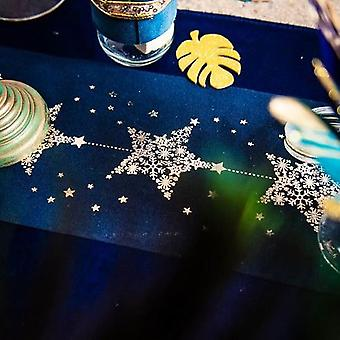 Table Runner Navy with Gold Stars 14.5cm x 5m - Christmas Decoration