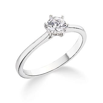 9K White Gold 6 Claw Tapered Setting 0.25Ct Certified Solitaire Diamond Engagement Ring