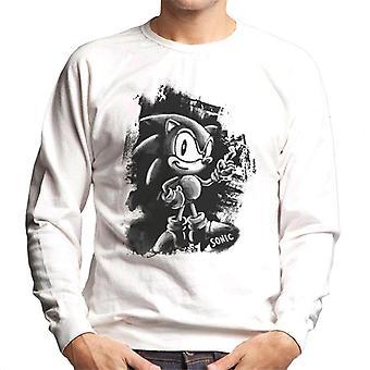 Sonic The Hedgehog Musta Maalattu Design Men's Collegepaita