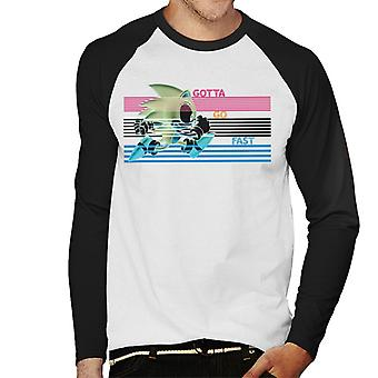 Sonic The Hedgehog Running Stripes Gotta Go Fast Men's Baseball Pitkähihainen T-paita