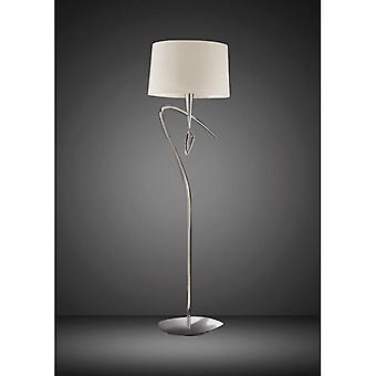 Mara Vloer lamp 1 E27 Lamp, gepolijst chroom met ivoor witte lampenkap