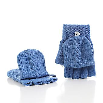 New Adult Kids Fingerless Half Finger Winter Soft Unisex Basic Gloves