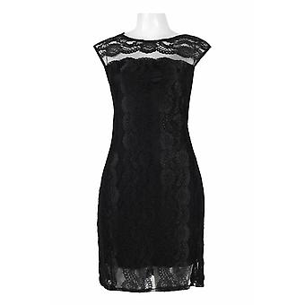 Crew Neck Cap Sleeve Illusion Bodycon Stretch Lace Dress