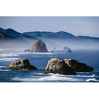 Haystack Rock The Needles And Sea Stacks Cannon Beach Oregon United States Of America PosterPrint