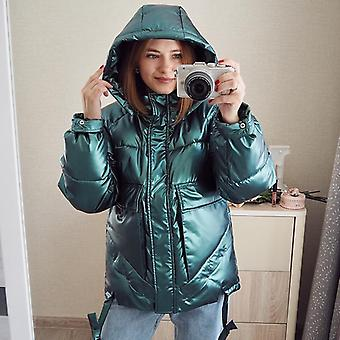 Winter Short Casual Thicken Warm Hooded Windproof Shiny Pocket Jackets