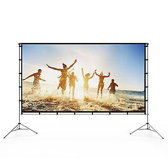 Vamvo outdoor indoor projector screen with stand foldable portable movie screen 120 inch (16:9) full