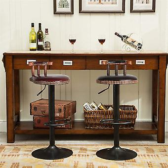 2 Industrial Bar Stool Breakfast Kitchen Bistro Cafe Vintage Rustic Leather Seat