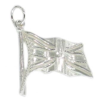 Union Jack Flag Sterling Silver Charm .925x1 Great Britain England Charms - 394