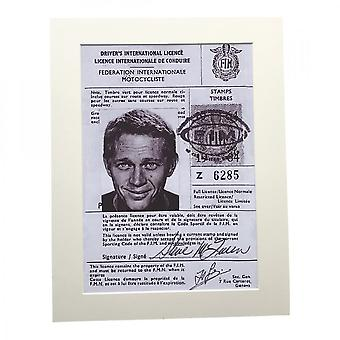 Larrini Mcqueen Driving Licence A4 Mounted Photo