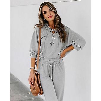 Women Lace-up Long Sleeve Hoodies Sweatshirt And Long Pants