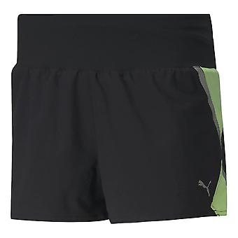 Puma Woven 3' Run Shorts - Black / Fizzy Yellow