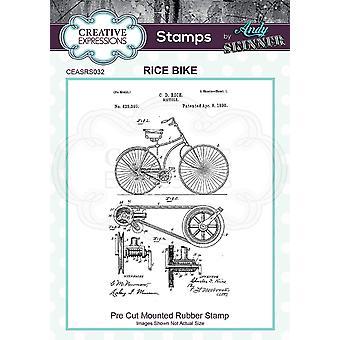 Expressões Criativas Andy Skinner Rice Bike 4.1 em x 2.4 em Selo de Borracha