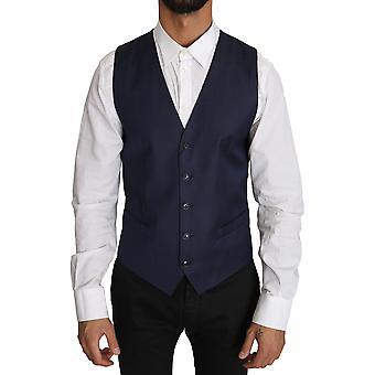 Dolce & Gabbana Blue Dotted Pattern Nylon Waistcoat Vest