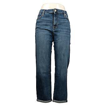 Chaps Women's Jeans Slim Fit Boyfriend Front Button Blue