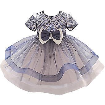 Baby Meisje Formele Doop Prinses Jurk 1129-donker Blauw